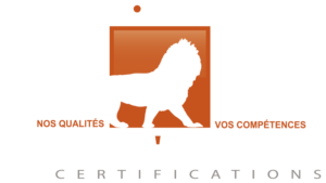 logo de certification WiCert Quali compétence lion orange